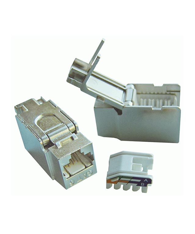 DINTEK Cat6 Shielded RJ45 90 White and silver Component level  Toolless Keystone jack